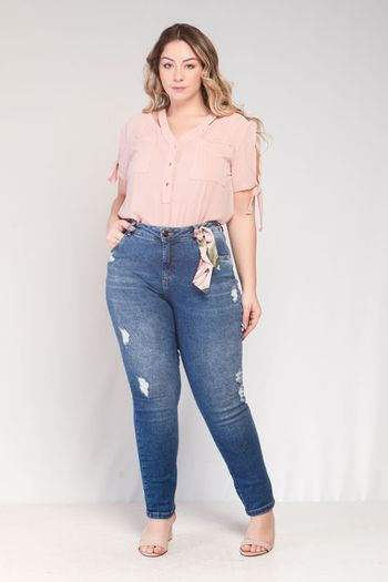 CALÇA JEANS SKINNY CROPPED COMBO AMOUR ELEGANCE